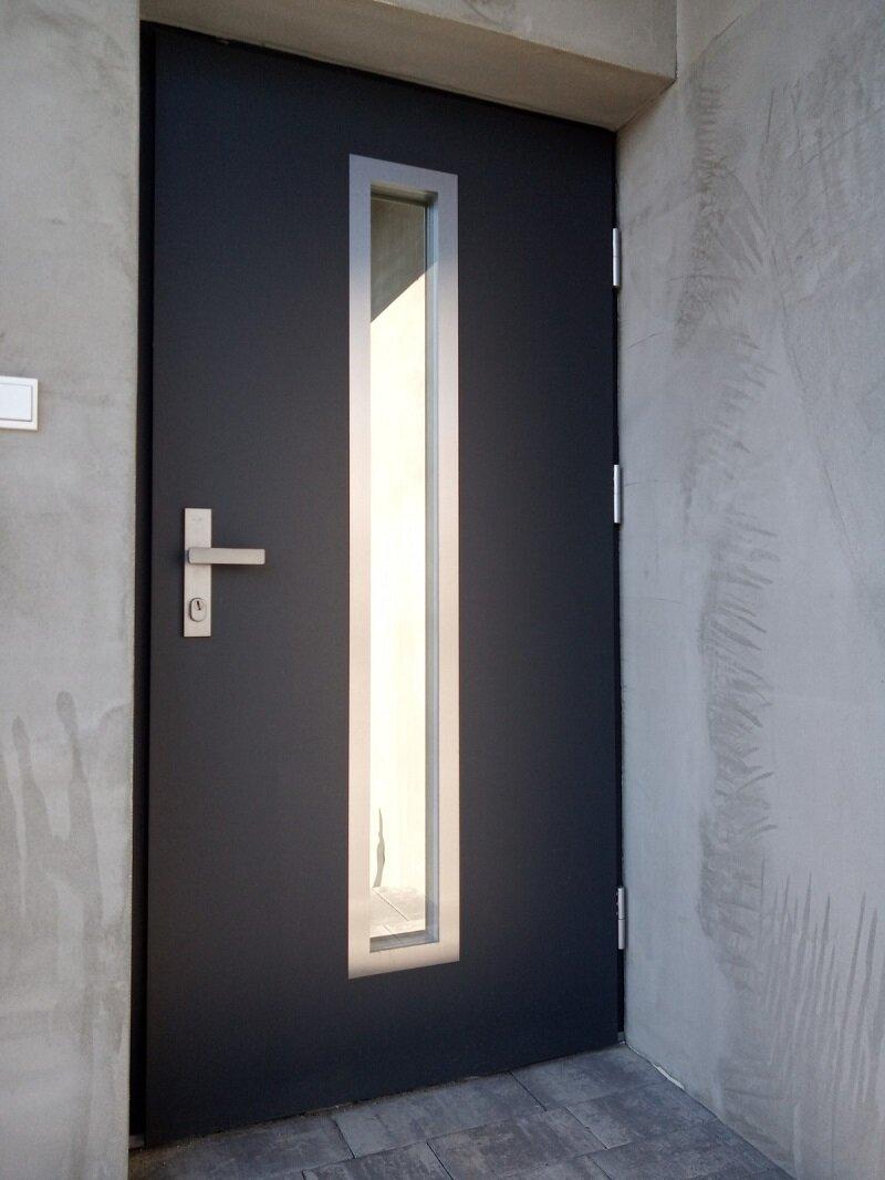 Drzwi Wikęd, termo Prestige LUX z klamką Magnus, kolor antracyt